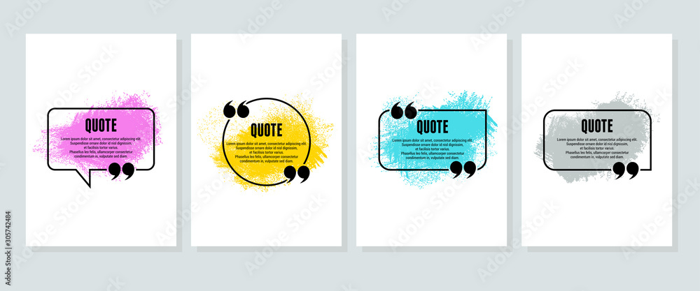 Fototapeta Quote box frame, big set. Quote box icon. Texting quote boxes. Blank template quote text info design boxes quotation bubble blog quotes symbols. Creative vector banner illustration