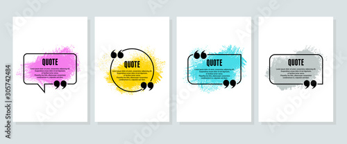 Obraz Quote box frame, big set. Quote box icon. Texting quote boxes. Blank template quote text info design boxes quotation bubble blog quotes symbols. Creative vector banner illustration - fototapety do salonu