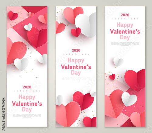 Carta da parati  Valentine's day concept, vertical banners set