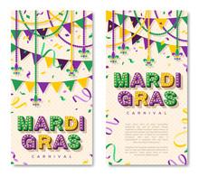 Mardi Gras Vertical Banner Wit...
