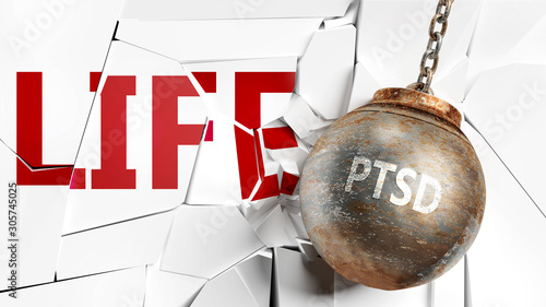Obraz na plátně Ptsd and life - pictured as a word Ptsd and a wreck ball to symbolize that Ptsd