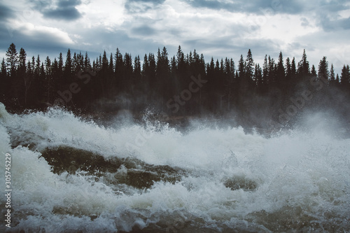 Fototapeta Waves and splashes of mountain river on background of forest and dramatic sky. Forest river water landscape. Wild river in mountain forrest panorama obraz