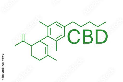 Photo CBD molecule formula. Cannabidiol formula. Chemical molecule.