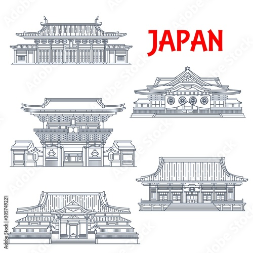 Vászonkép Japanese travel landmark vector icons
