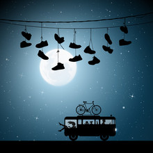 Retro Car On Moonlit Night. Vector Illustration With Silhouettes Of Parents With Children Traveling In Camper. Shoes Hanging On Wires. Family Road Trip. Full Moon In Starry Sky
