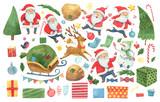 Fototapeta Fototapety na ścianę do pokoju dziecięcego - Set of Christmas elements. Santa Claus, Christmas tree, gifts, deer, snowman and other items. Watercolor hand draw isolated illustration.