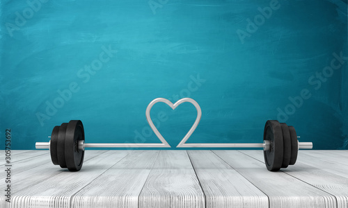 Fotografia 3d rendering of barbell with its bar bent in shape of heart in the middle, on wooden surface near blue wall