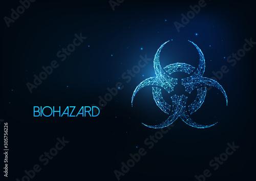 Futuristic glowing low polygonal biohazard symbol isolated on dark blue background Wallpaper Mural