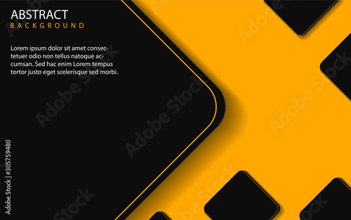 Abstract yellow and black shapes overlapping layers on black background. Vector design template for use modern cover, technology banner, business advertising, card corporate, wallpaper, brochure