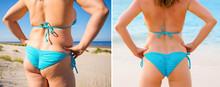Woman In Bikini From Back Befo...