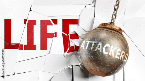 Photo Attackers and life - pictured as a word Attackers and a wreck ball to symbolize