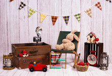 Backdrops For Photo Studio With Vintage Decor And Old Objects Proper For Kids And Family Photo Sessions.
