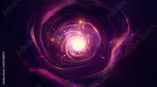Photo image of spiral nebula and light in red-violet tones