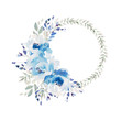 Beautiful Watercolor wedding blue wreath with roses flowers and peony, leaves.