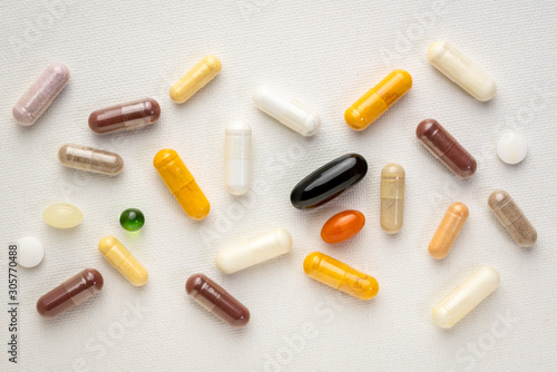 Fototapeta vitamins and supplements background obraz