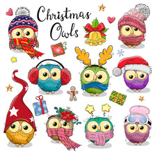 Cute Cartoon Christmas Owls On...