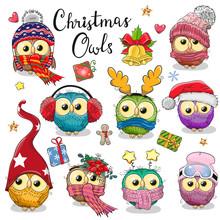 Cute Cartoon Christmas Owls On A White Background