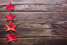 Top View Of Red Maple Leaves I...