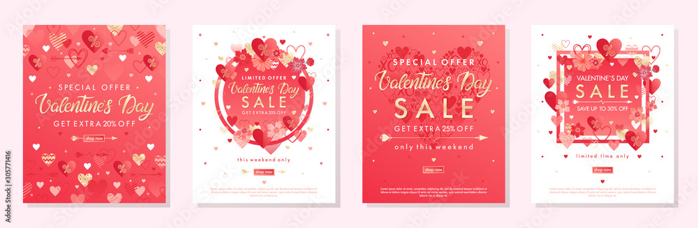 Fototapeta Bundle of Valentines Day special offer banners with hearts and golden foil elements.Sale templates perfect for prints, flyers, banners, promotions, special offers and more.Vector Valentines promos.