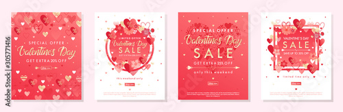 Fototapeta Bundle of Valentines Day special offer banners with hearts and golden foil elements.Sale templates perfect for prints, flyers, banners, promotions, special offers and more.Vector Valentines promos. obraz