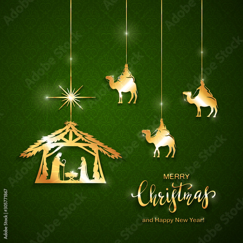 Christian Christmas Golden Elements on Green Background Canvas-taulu