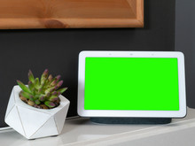 Smart Home Speaker Voice Assistant Touchscreen In Home Setting With Green Screen