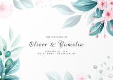 Elegant Minimalist Floral Background For Wedding Invitation Card Template Multi-purpose. Save The Date, Invitation, Greeting Card Vector