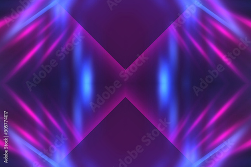Dark abstract futuristic background. Neon lines glow. Neon lines, shapes. Multi-colored glow, blurry lights, bokeh. Empty stage background - 305774017