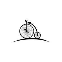 Retro Style Hand Drawn Circus Bicycle With Big Front Wheel Vector Illustration,  Black Silhouette Isolated