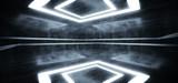 Fototapeta Scene - Smoke Fog Mist Empty Grunge Concrete Modern Room Ceiling White Led Lights Rectangle Shape Hall Garage Underground Industrial Background 3D Rendering