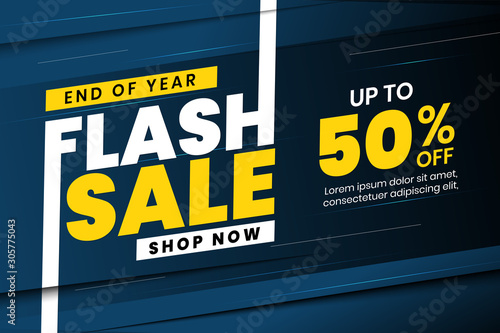 Obraz End of year flash sale banner discount up to 50% off - fototapety do salonu