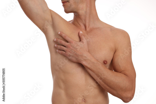 Muscular male torso, chest and armpit hair removal Wallpaper Mural
