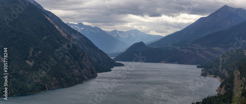 Aerial View of Anderson Lake surrounded by Canadian Mountain Landscape during a cloudy summer day Canvas Print