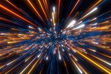 Speed Of Light In Space On Dark Background.