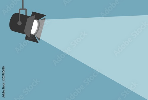 Obraz Spotlight shining flat illustration. Movie spotlight on blue background. Vector flat illustration - fototapety do salonu