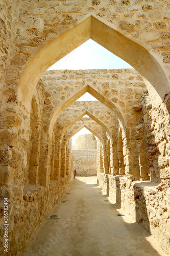Iconic Archways in the Bahrain Fort or Portuguese Fort, Manama, Bahrain Wallpaper Mural