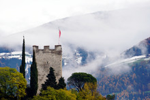 Powder Tower Of The Old Castle In Merano, Province Bolzano, South Tyrol, Italy