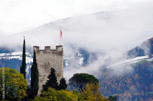 Valokuvatapetti Powder Tower of the old castle in Merano, Province Bolzano, South Tyrol, Italy