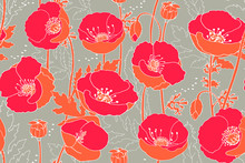 Art Floral Vector Seamless Pattern. Red Poppies.