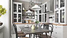 Scandinavian Or Country Style Kitchen With Eating Area And Simplistic Accents. 3d Rendering