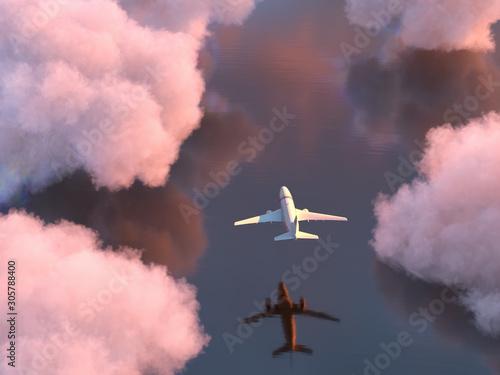 Obraz airplane flies over the water - fototapety do salonu