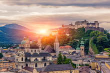 Salzburg Old City At Sunrise V...