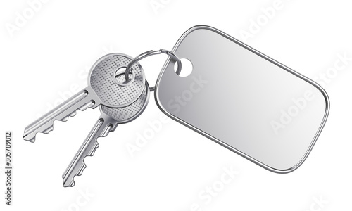 Empty label keyring isolated on white background Canvas Print