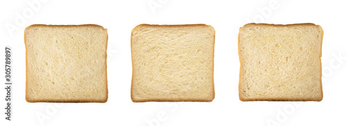 Obraz na plátne Top view of wheat bread slices of square shape isolated on white background