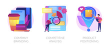 Corporate Identity, Business Marketing Strategy Development Flat Icons Set. Company Branding, Competitive Analysis, Product Positioning Metaphors. Vector Isolated Concept Metaphor Illustrations