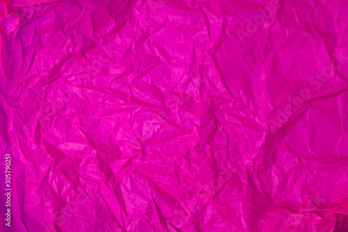 The texture of crumpled purple crumpled paper - 305790251