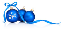 Three Blue Christmas Decoration Bauble With Ribbon Bow Isolated On White Background