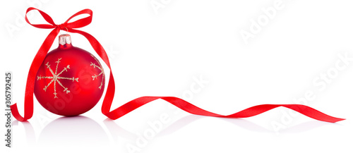 Recess Fitting Asia Country Red Christmas decoration bauble with ribbon bow isolated on white background