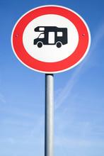 German Road Sign: No Access For Campervans