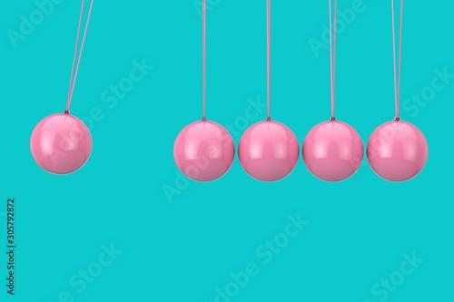 Fotografia, Obraz Pink Newton's Sphere Cradle Duotone. 3d Rendering
